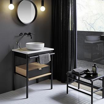 Burgbad Mya Комплект напольной мебели 65x50x79 см, дуб черный, столешница с раковиной белые