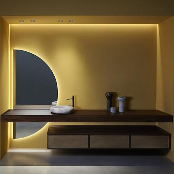 Antonio Lupi Bespoke Комплект подвесной мебели с тумбами под раковину, раковиной Gessati, зеркалом с подсветкой SPICCHIO, 72 см, цвет: Rovere thermo