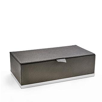 3SC Milano Коробочка универсальная, 25х13хh8см, с крышкой, настольная, цвет: коричневая эко-кожа/белый матовый