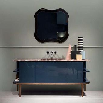 Antonio Lupi ILBagno Комплект мебели: тумба напольная с раковиной 180x54см цвет: Strada lucido, мраморная столешница, зеркало цвет: Rose и настенный смеситель цвет: хром
