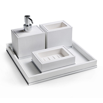 3SC Snowy Комплект: стакан, дозатор, мыльница, лоток, цвет: белая эко-кожа/хром