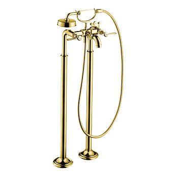 Axor Montreux Смеситель для ванны, напольный, на 2 отв, с ручным душем излив 234мм  (рычажные рук.), цвет: полированное золото