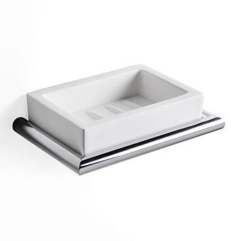 3SC Guy Мыльница подвесная, композит Solid Surface, цвет: белый матовый/хром матовый