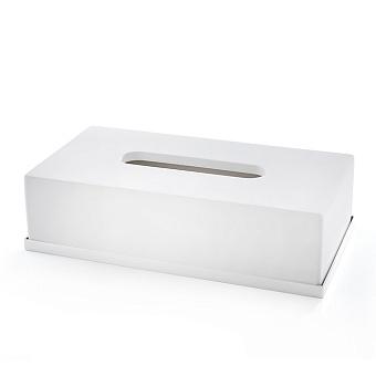 3SC Mood Deluxe Контейнер для бумажных салфеток, 24х7х13 см, прямоугольный, настольный, композит Solid Surface, цвет: белый матовый/белый матовый