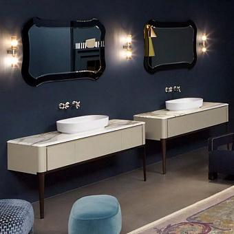 Antonio Lupi ILBagno Комплект мебели: тумба напольная с раковиной 162x54см, цвет: Havano Lucido, зеркало цвет: Fume и смеситель, цвет: хром