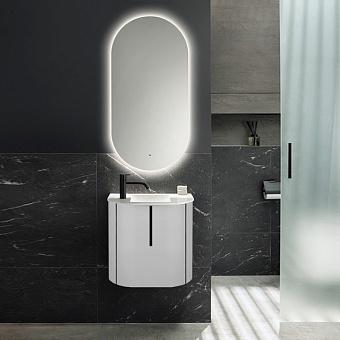 Burgbad Lavo 2.0 Комплект мебели 53х35х49.2см., с 1 отверстием для смес. слева, 1 дверь, раковина белая Velvet, ручка черная, цвет белый глянцевый