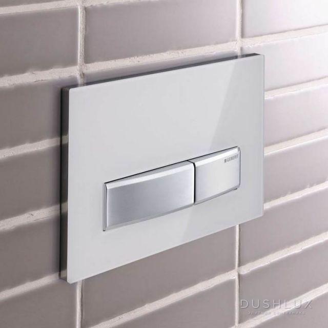 Sigma50, смывная клавиша, двойной смыв, рамка-зерк.дымчатое стекло/кнопки-нерж.сталь
